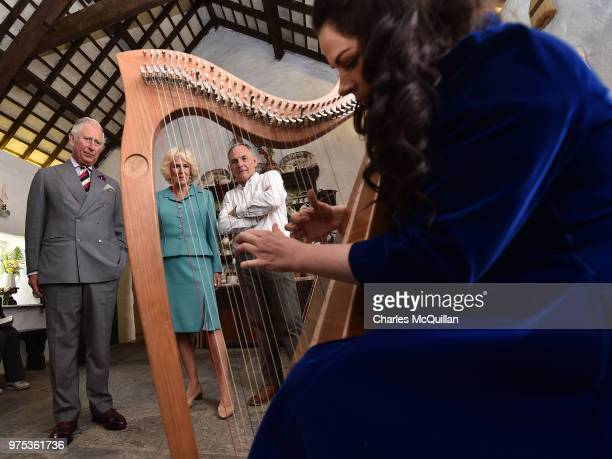 Prince Charles Prince of Wales and Camilla Duchess of Cornwall are given a harp playing display on their visit to Muckross House on June 15 2018 in...