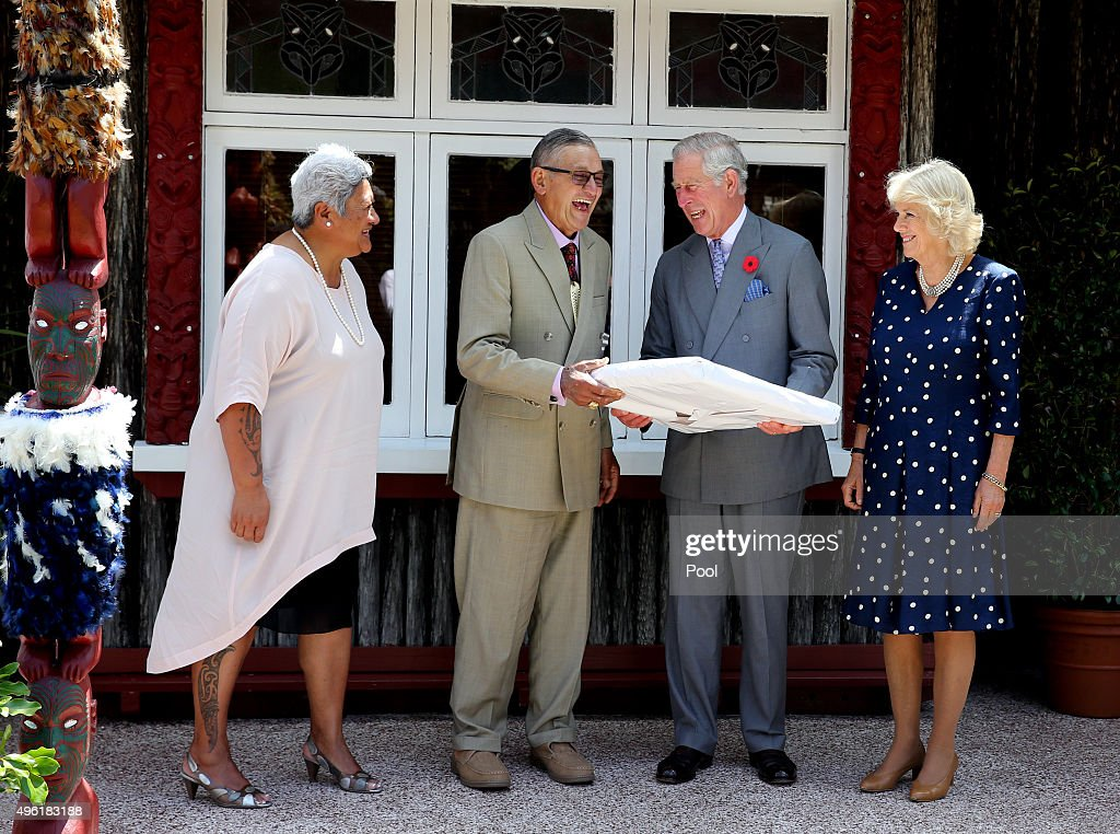 Prince Charles, Prince of Wales and Camilla, Duchess of Cornwall are photographed with the maori king, Kiingi Tuheitia and his wife Atawhai at Turangawaewae Marae on November 8, 2015 in Ngaruawahia, New Zealand. The Royal couple are on a 12-day tour visiting seven regions in New Zealand and three states and one territory in Australia.