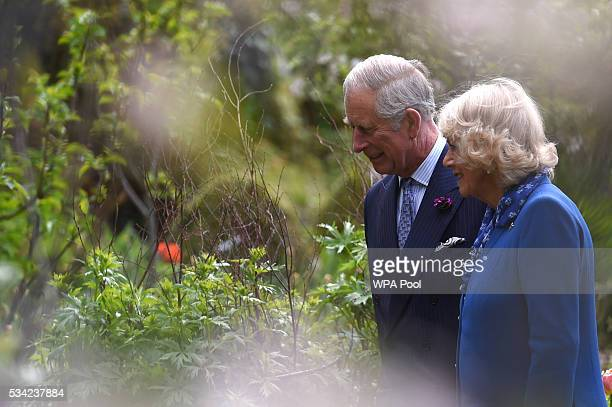 Prince Charles Prince of Wales and Camilla Duchess of Cornwall are seen during a visit to Glenveagh National Park on May 25 2016 in Letterkenny...