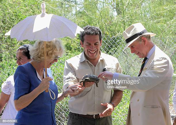Prince Charles Prince of Wales and Camilla Duchess of Cornwall are presented with a tortoise who the Prince named William during a tour of the Darwin...
