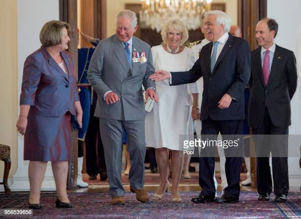 Prince Charles Prince of Wales and Camilla Duchess of Cornwall are greeted by President of Greece Prokopios Pavlopoulos and his wife Vlassia...