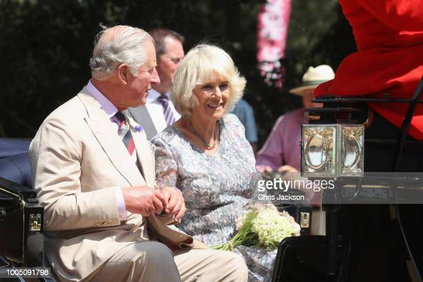 Prince Charles Prince of Wales and Camilla Duchess of Cornwall arrive at the Sandringham Flower Show 2018 at Sandringham House on July 25 2018 in...
