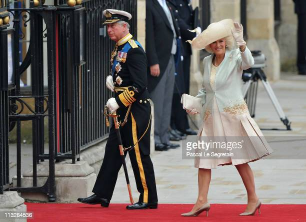 Prince Charles Prince of Wales and Camilla Duchess of Cornwall arrive to attend the Royal Wedding of Prince William to Catherine Middleton at...