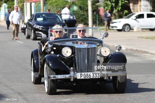 Prince Charles Prince of Wales and Camilla Duchess of Cornwall arrive at a British Classic Car event on March 26 2019 in Havana Cuba Their Royal...
