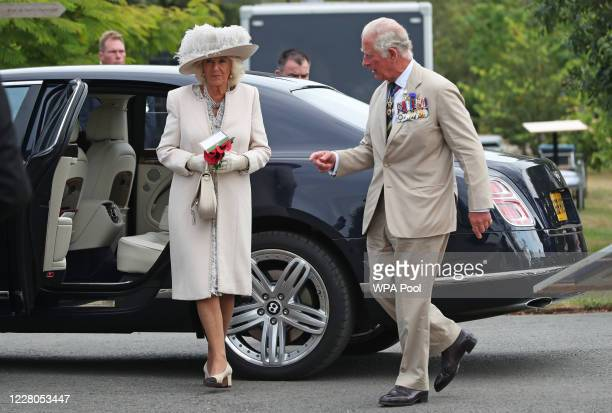Prince Charles Prince of Wales and Camilla Duchess of Cornwall arrive to attend the national service of remembrance marking the 75th anniversary of...