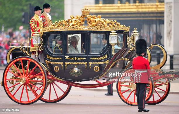 Prince Charles Prince of Wales and Camilla Duchess of Cornwall arrive to Buckingham Palace on April 29 2011 in London England