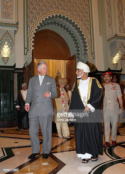 Prince Charles Prince of Wales and Camilla Duchess of Cornwall arrive for an audience with the Sultan of Oman Qaboos bin Said Al Saidat at the...