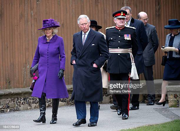 Prince Charles Prince of Wales and Camilla Duchess of Cornwall arrive for the enthronement of Justin Welby as Archbishop of Canterbury at Canterbury...