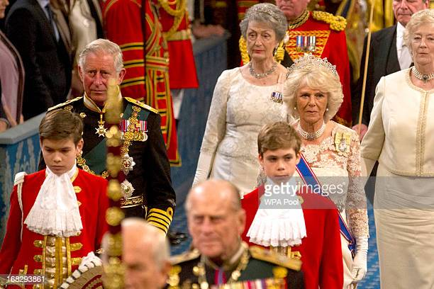 Prince Charles Prince of Wales and Camilla Duchess of Cornwall arrive for the state opening of Parliament at the House of Lords on May 8 2013 in...
