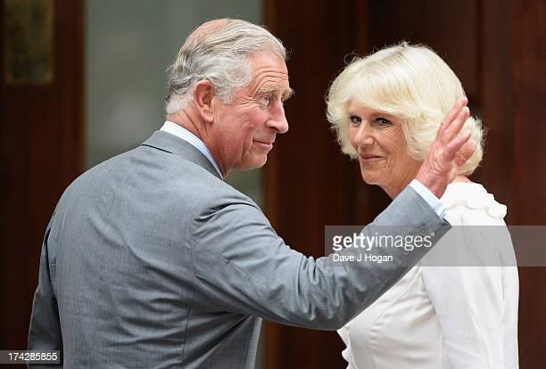 Prince Charles Prince of Wales and Camilla Duchess of Cornwall arrive at The Lindo Wing before visiting Catherine Duchess Of Cambridge and her...