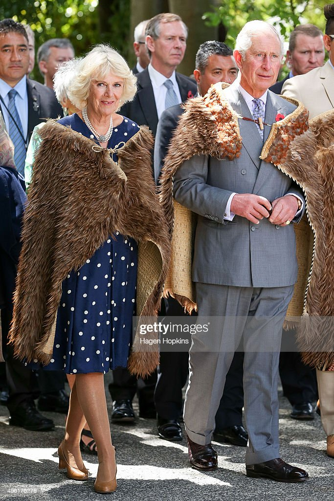Prince Charles, Prince of Wales and Camilla, Duchess of Cornwall, arrive dressed in Korowai (traditional Maori woven cloak) during a visit to Turangawaewae Marae on November 8, 2015 in Ngaruawahia, New Zealand. The Royal couple are on a 12-day tour visiting seven regions in New Zealand and three states and one territory in Australia.