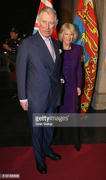 Prince Charles Prince of Wales and Camilla Duchess of Cornwall arrive for a reception at the Serbian Parliament in honour of British women who served...