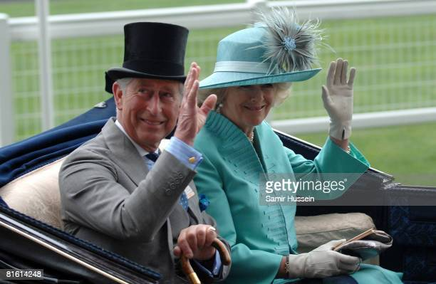 Prince Charles Prince of Wales and Camilla Duchess of Cornwall arrive by carriage on day two of Royal Ascot on June 18 2008 in Ascot England