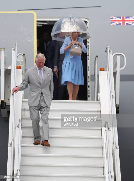 Prince Charles Prince of Wales and Camilla Duchess of Cornwall arrive at Nice International Airport on May 7 2018 in Nice France Prince Charles...