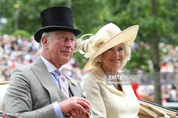 Prince Charles Prince of Wales and Camilla Duchess of Cornwall arrive by carriage to Royal Ascot Day 1 at Ascot Racecourse on June 19 2018 in Ascot...