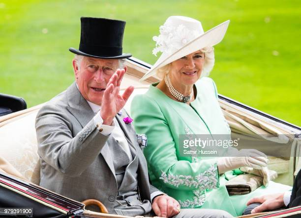 Prince Charles, Prince of Wales and Camilla, Duchess of Cornwall arrive by carriage during Royal Ascot Day 2 at Ascot Racecourse on June 20, 2018 in...