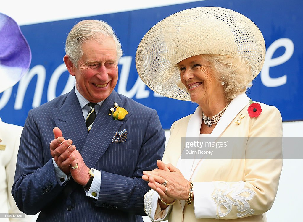 Prince Charles, Prince of Wales and Camilla, Duchess of Cornwall applaud as they present the Diamond Jubilee Plate during the 2012 Melbourne Cup Day at Flemington Racecourse on November 6, 2012 in Melbourne, Australia.