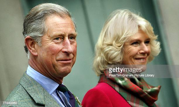 Prince Charles Prince of Wales and Camilla Duchess of Cornwall at their Scottish home Birkhall on October 21 2007 in Balmoral Scotland