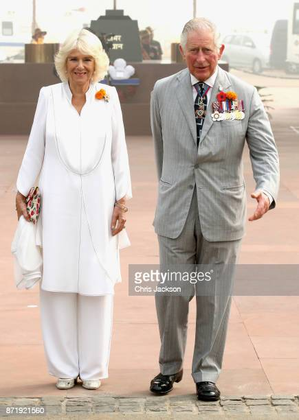 Prince Charles Prince of Wales and Camilla Duchess of Cornwall at India Gate during a visit to India on November 9 2017 in New Delhi India The Prince...