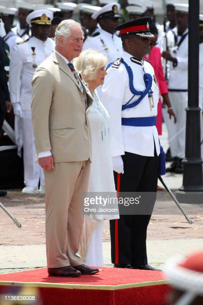 Prince Charles Prince of Wales and Camilla Duchess of Cornwall attend a parade and wreath laying ceremony at Hereos Square on March 19 2019 in...