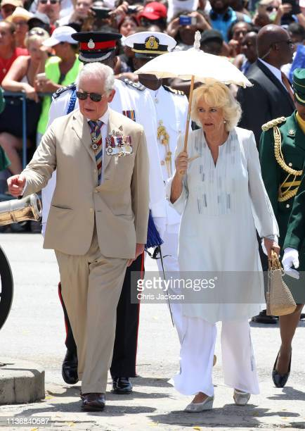 Prince Charles, Prince of Wales and Camilla, Duchess of Cornwall attend a parade and wreath laying ceremony at Hereos Square on March 19, 2019 in...