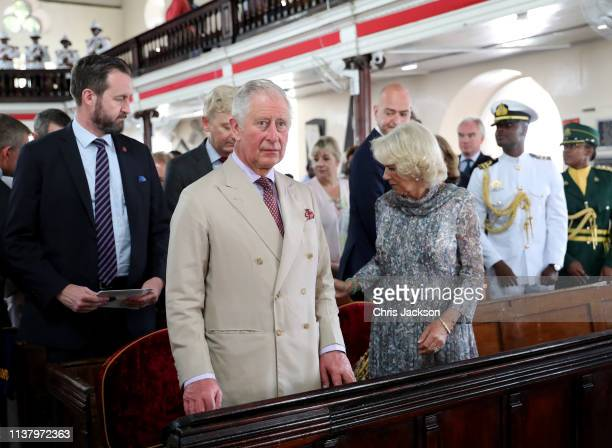 Prince Charles Prince of Wales and Camilla Duchess of Cornwall attend a church service at St Michael's Cathedral on March 24 2019 in Bridgetown...