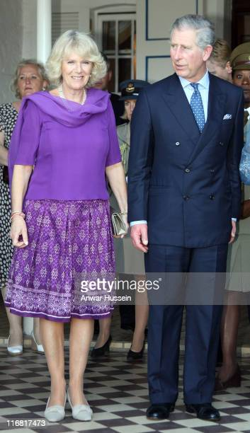 Prince Charles Prince of Wales and Camilla Duchess of Cornwall attend a reception at the Governor General's Residence on March 7 2008 in Castries St...