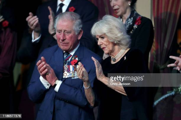 Prince Charles Prince of Wales and Camilla Duchess of Cornwall attend the annual Royal British Legion Festival of Remembrance at the Royal Albert...