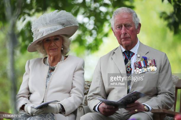 Prince Charles Prince of Wales and Camilla Duchess of Cornwall attend the VJ Day National Remembrance event held at the National Memorial Arboretum...