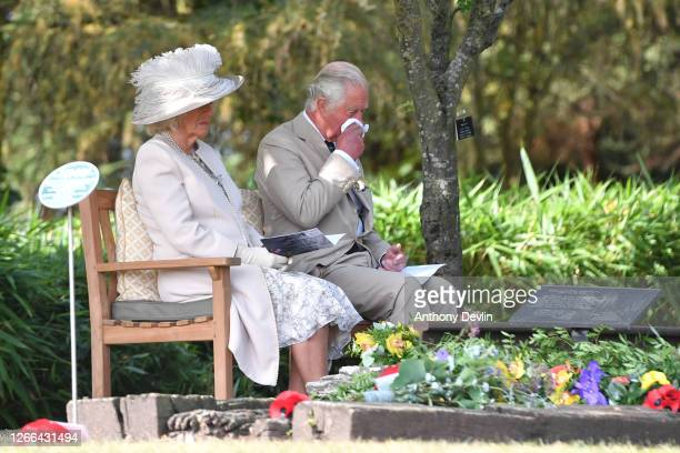 Prince Charles Prince of Wales and Camilla Duchess of Cornwall attend a national service of remembrance marking the 75th Anniversary of VJ Day at The...
