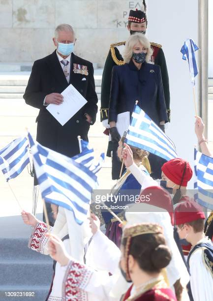 Prince Charles, Prince of Wales and Camilla, Duchess of Cornwall attend the Greek Independence day Military Parade in Syntagma Square on March 25,...