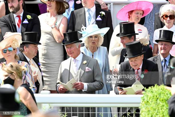 Prince Charles, Prince of Wales and Camilla, Duchess of Cornwall attend day one of Royal Ascot 2021 at Ascot Racecourse on June 15, 2021 in Ascot,...