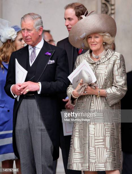 Prince Charles, Prince of Wales and Camilla Duchess of Cornwall attend a Service of Thanksgiving to celebrate Queen Elizabeth II's Diamond Jubilee at...