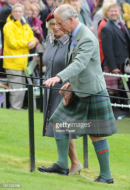 Prince Charles Prince of Wales and Camilla Duchess of Cornwall attend the Braemar Highland Gathering on September 1 in Braemar Scotland