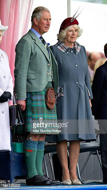 Prince Charles Prince of Wales and Camilla Duchess of Cornwall attend the 2012 Braemar Highland Gathering at The Princess Royal Duke of Fife Memorial...