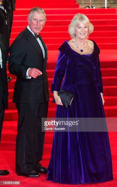 Prince Charles, Prince of Wales and Camilla, Duchess of Cornwall attend the Royal World Premiere of 'Skyfall' at the Royal Albert Hall on October 23,...
