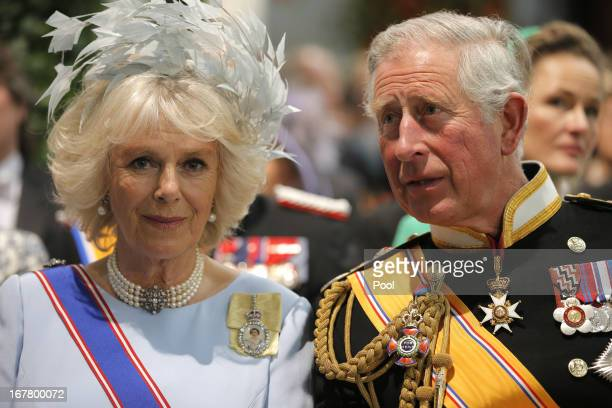 Prince Charles, Prince of Wales and Camilla, Duchess of Cornwall attend the inauguration of HM King Willem Alexander of the Netherlands and HRH...