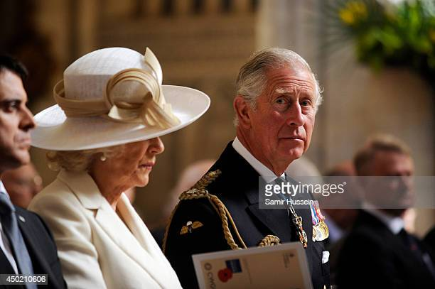 Prince Charles Prince of Wales and Camilla Duchess of Cornwall attend a Service of Remembrance at Bayeux cathedral during DDay 70 Commemorations on...