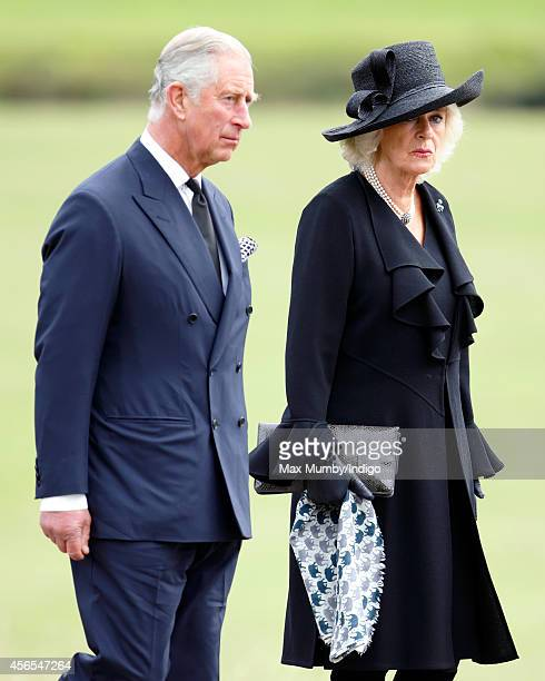 Prince Charles, Prince of Wales and Camilla, Duchess of Cornwall attend the funeral of Deborah, Dowager Duchess of Devonshire at St Peter's Church,...