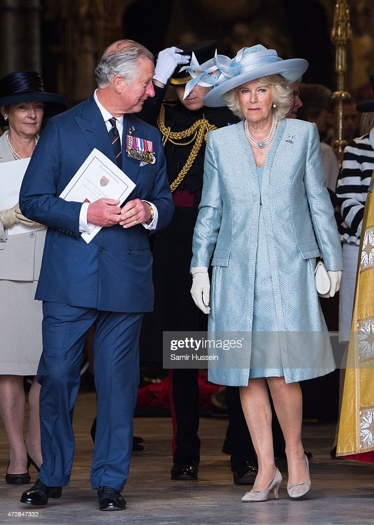 Prince Charles, Prince of Wales and Camilla, Duchess of Cornwall attend a Service of Thanksgiving to mark the 70th anniversary of Victory in Europe at Westminster Abbey on May 10, 2015 in London, England.