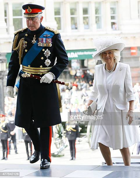 Prince Charles Prince of Wales and Camilla Duchess of Cornwall attend a commemoration service to mark the 200th Anniversary of the Battle of Waterloo...