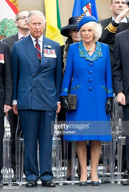 Prince Charles Prince of Wales and Camilla Duchess of Cornwall attend the official welcome ceremony at Grand Parade at The Cenotaph on May 19 2014 in...