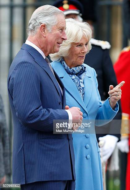 Prince Charles, Prince of Wales and Camilla, Duchess of Cornwall attend a beacon lighting ceremony to celebrate Queen Elizabeth II's 90th birthday on...