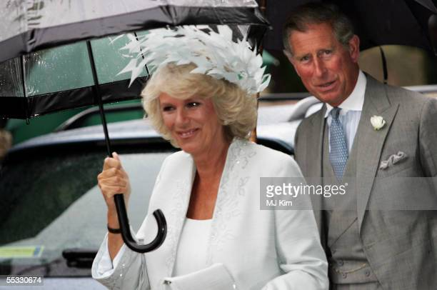 Prince Charles Prince of Wales and Camilla Duchess of Cornwall attend the wedding of The Duchess of Cornwalls son Tom Parker Bowles to magazine...