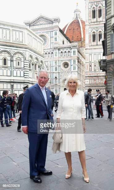 Prince Charles Prince of Wales and Camilla Duchess of Cornwall attend a walkabout in front of the Cattedrale di Santa Maria del Fiore during day 4 of...