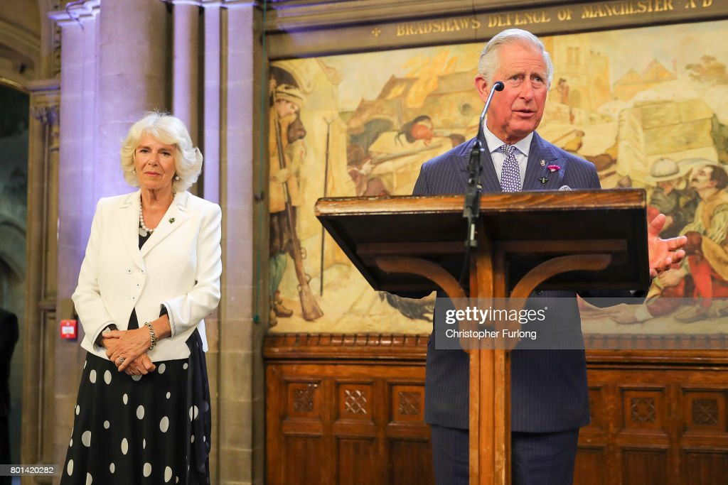 Prince Charles, Prince of Wales and Camilla, Duchess of Cornwall attend a reception in Manchester Town Hall to thank those involved during the Manchester Attack on June 26, 2017 in Manchester, England. Earlier in the day the Prince of Wales and the Duchess visited the scene of the suicide attack at the Manchester Arena. During their visit they both wore a Worker Bee badge, the symbol of the City of Manchester, which has now taken on more credence by people as a sign of resilience.