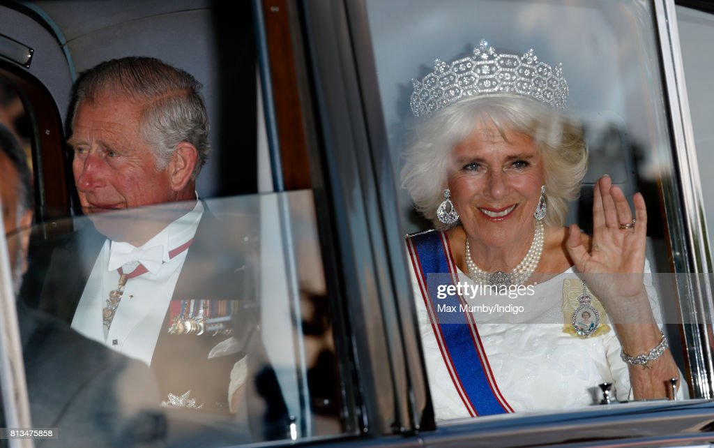 Prince Charles, Prince of Wales and Camilla, Duchess of Cornwall attend a State Banquet at Buckingham Palace on day 1 of the Spanish State Visit on July 12, 2017 in London, England. This is the first state visit by the current King Felipe and Queen Letizia, the last being in 1986 with King Juan Carlos and Queen Sofia.