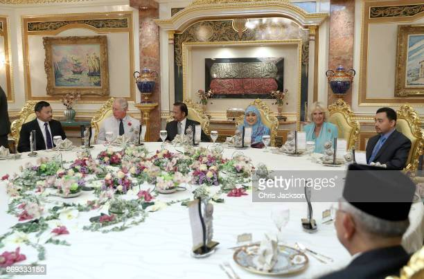 Prince Charles Prince of Wales and Camilla Duchess of Cornwall attend Tea with His Majesty The Sultan and Her Majesty Raja Isteri and the Royal...