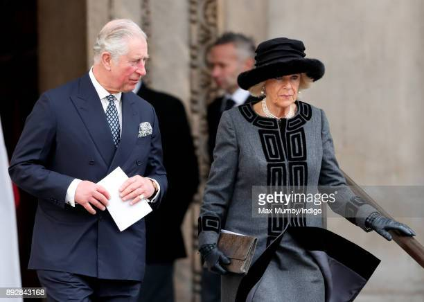 Prince Charles Prince of Wales and Camilla Duchess of Cornwall attend the Grenfell Tower national memorial service at St Paul's Cathedral on December...