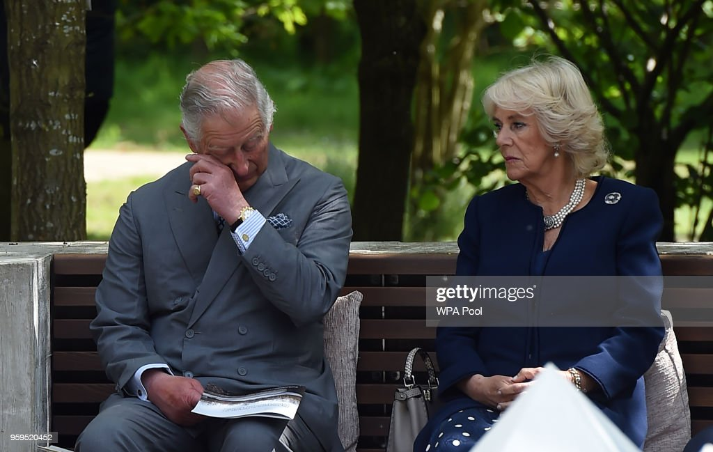 Prince Charles, Prince of Wales and Camilla, Duchess of Cornwall attend the dedication service for the National Memorial to British Victims of Overseas Terrorism at the National Memorial Arboretum on May 17, 2018 in Alrewas, England.